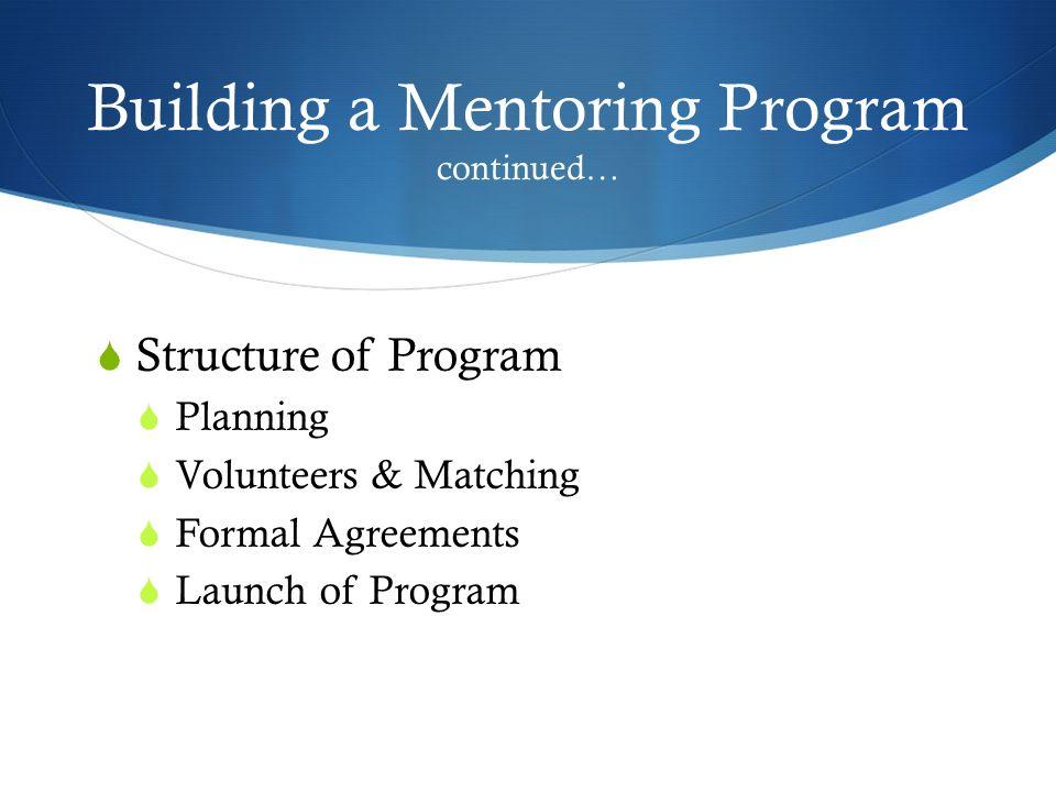 Building a Mentoring Program continued…