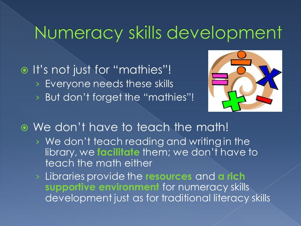 Numeracy skills development