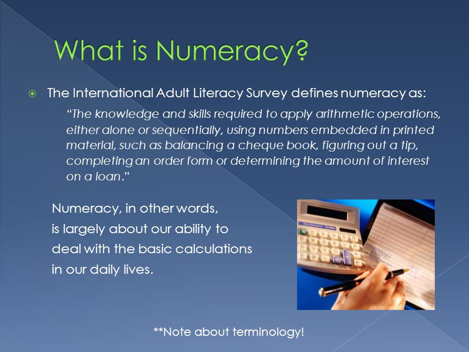 What is Numeracy The International Adult Literacy Survey defines numeracy as: