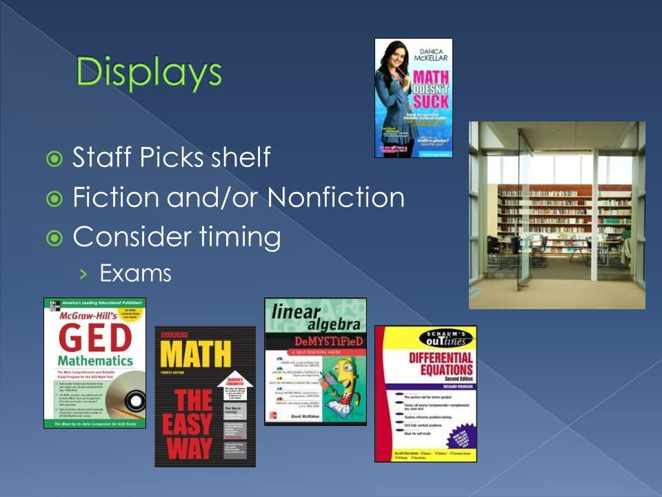 Displays Staff Picks shelf Fiction and/or Nonfiction Consider timing
