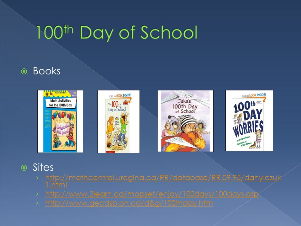 100th Day of School Books Sites