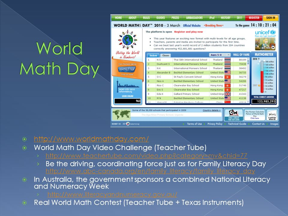 World Math Day http://www.worldmathday.com/