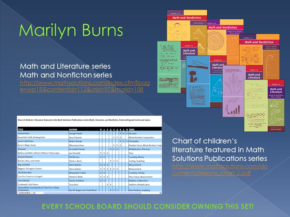 Marilyn Burns Math and Literature series