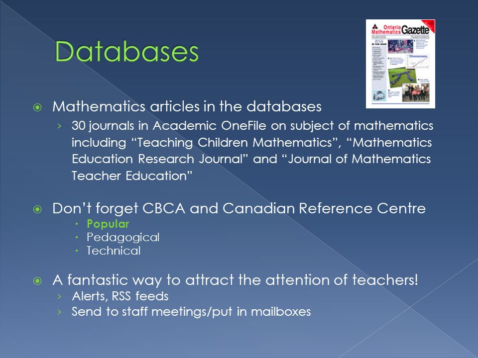 Databases Mathematics articles in the databases