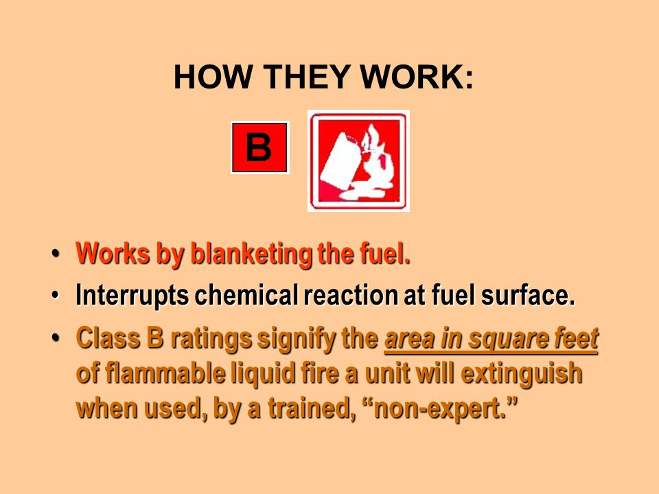 HOW THEY WORK: Works by blanketing the fuel.