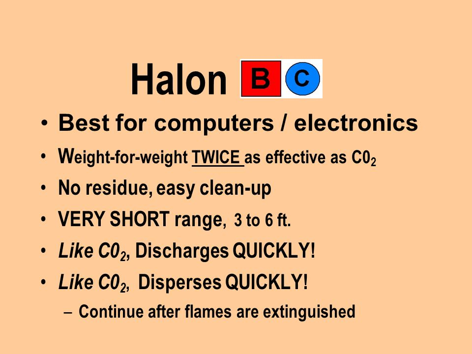 Halon Best for computers / electronics