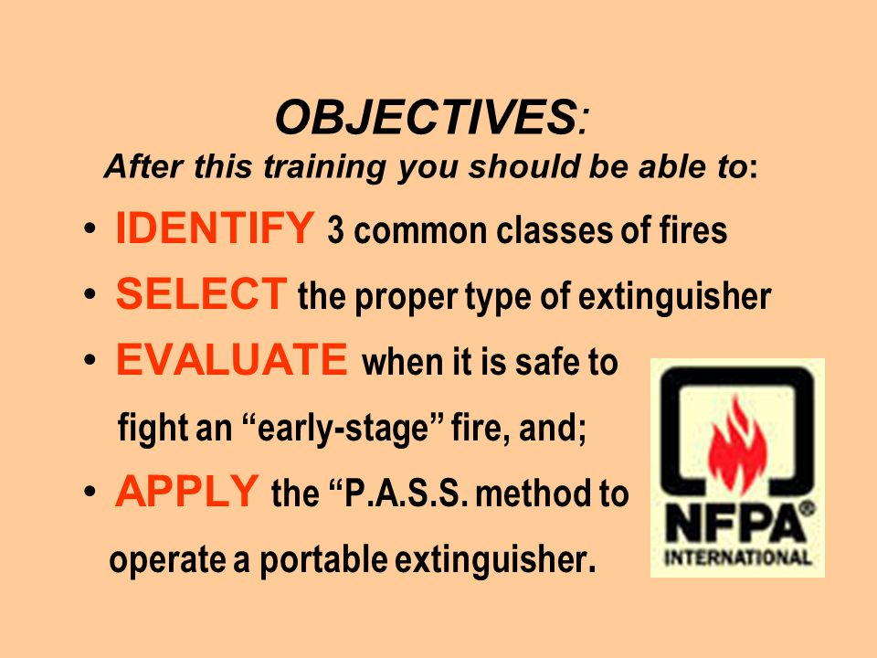 OBJECTIVES: After this training you should be able to: