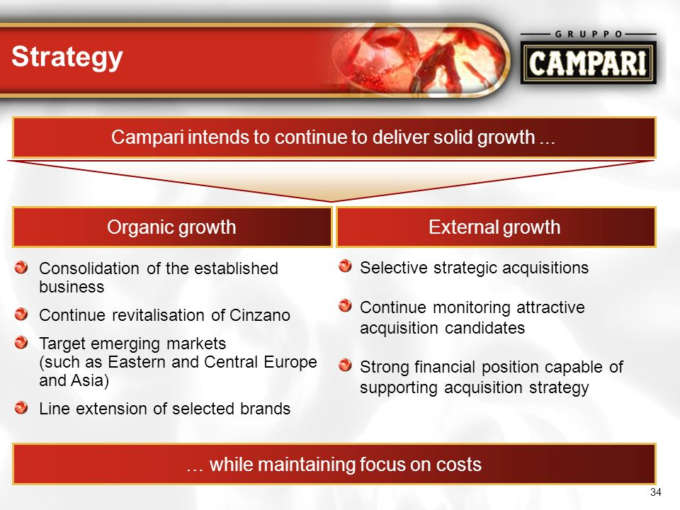 Strategy Campari intends to continue to deliver solid growth ...