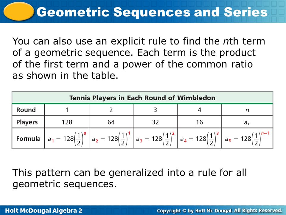 Geometric sequences and series ppt video online download for Table th nth