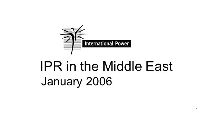 IPR in the Middle East January 2006