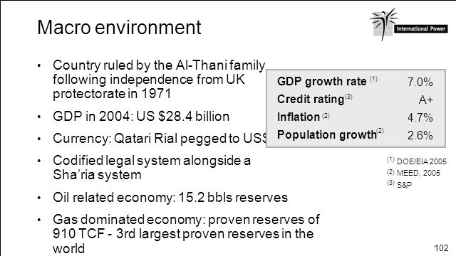 Macro environment Country ruled by the Al-Thani family following independence from UK protectorate in 1971.