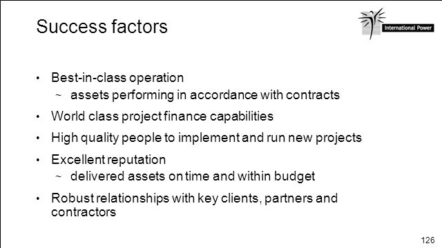 Success factors Best-in-class operation