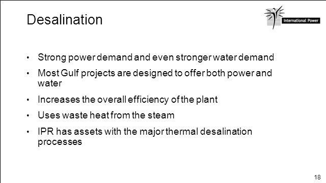 Desalination Strong power demand and even stronger water demand