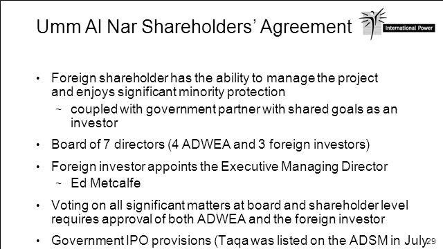 Umm Al Nar Shareholders' Agreement