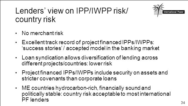 Lenders' view on IPP/IWPP risk/ country risk