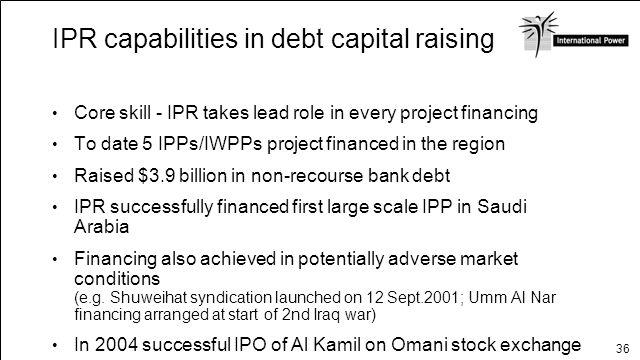 IPR capabilities in debt capital raising