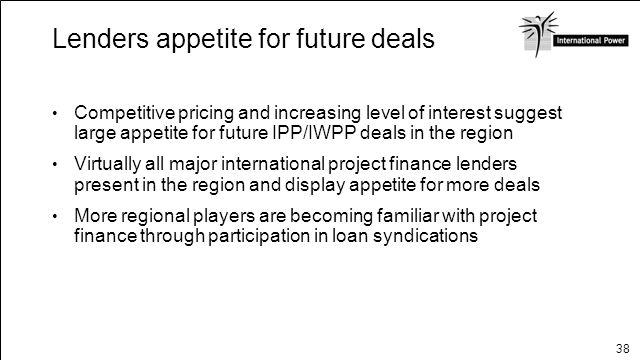 Lenders appetite for future deals