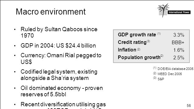 Macro environment Ruled by Sultan Qaboos since 1970