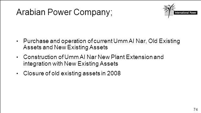 Arabian Power Company; $2.1 billion project