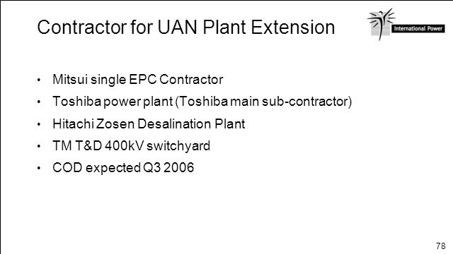 Contractor for UAN Plant Extension