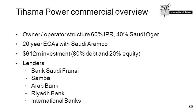 Tihama Power commercial overview