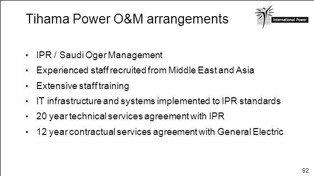 Tihama Power O&M arrangements