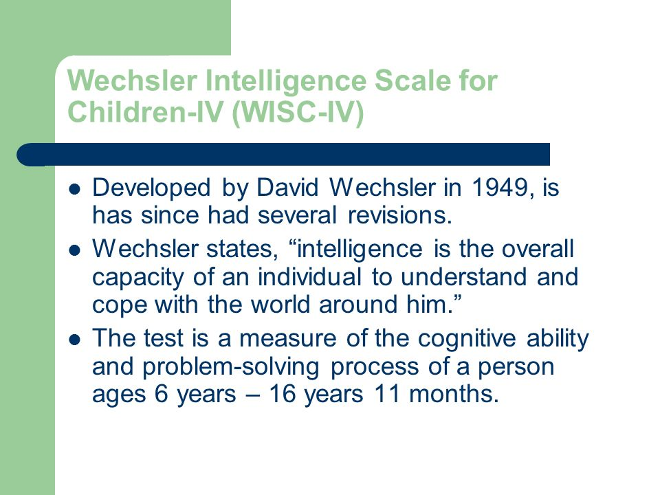 wechsler intelligence scale for children