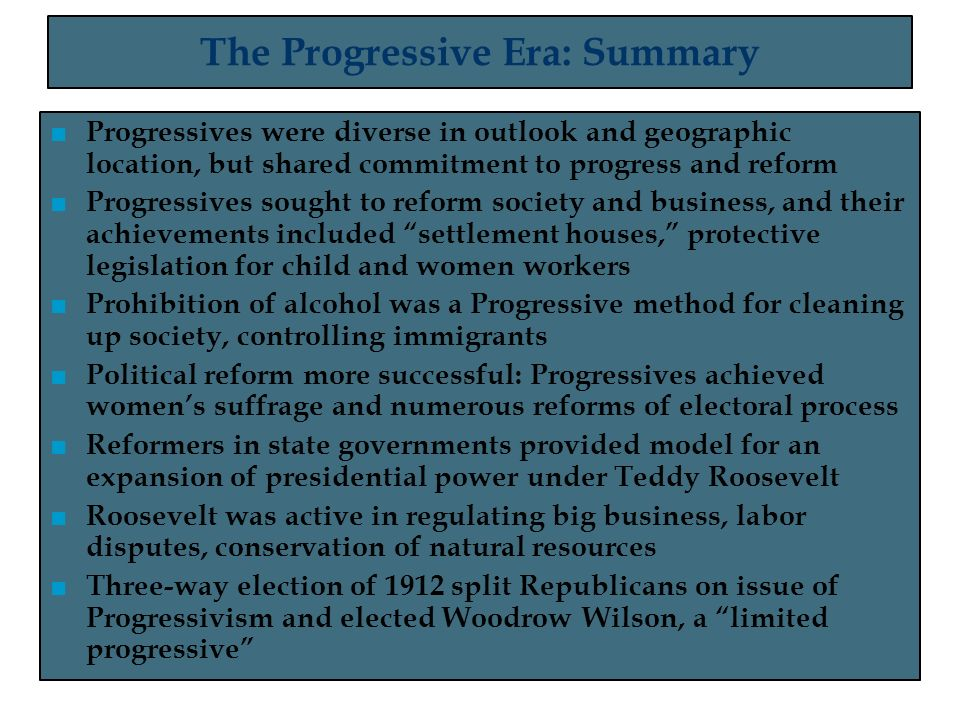 ministers of reform the progressives achievement Important examples of progressive reforms  progressives believed that the government needed to intervene to regulate the size and power of corporations examples.
