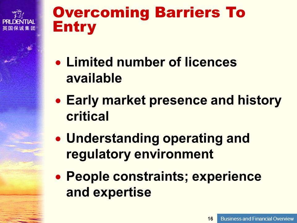 Overcoming Barriers To Entry