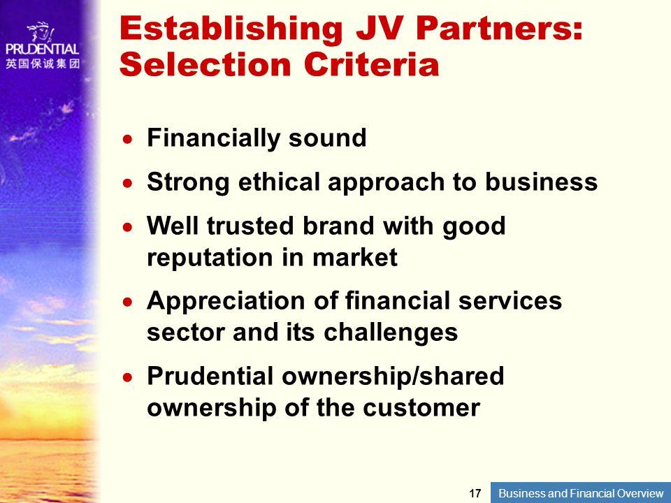 Establishing JV Partners: Selection Criteria