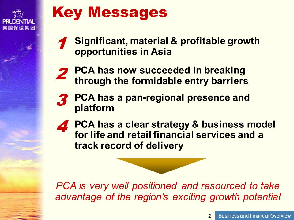 Key Messages 1. Significant, material & profitable growth opportunities in Asia. 2.