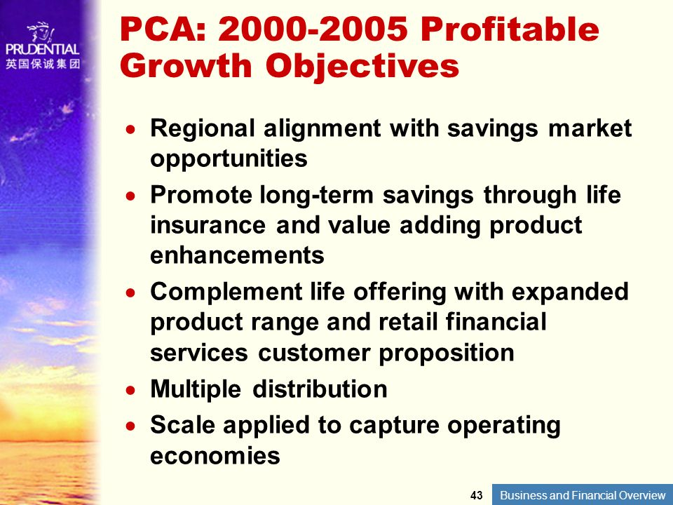 PCA: 2000-2005 Profitable Growth Objectives