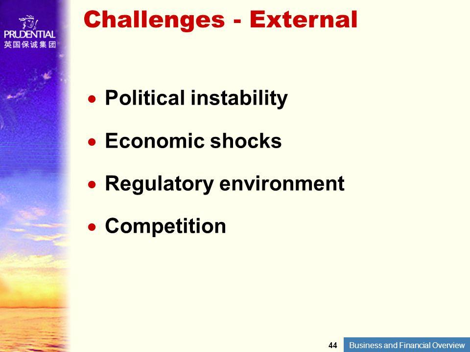 Challenges - External Political instability Economic shocks