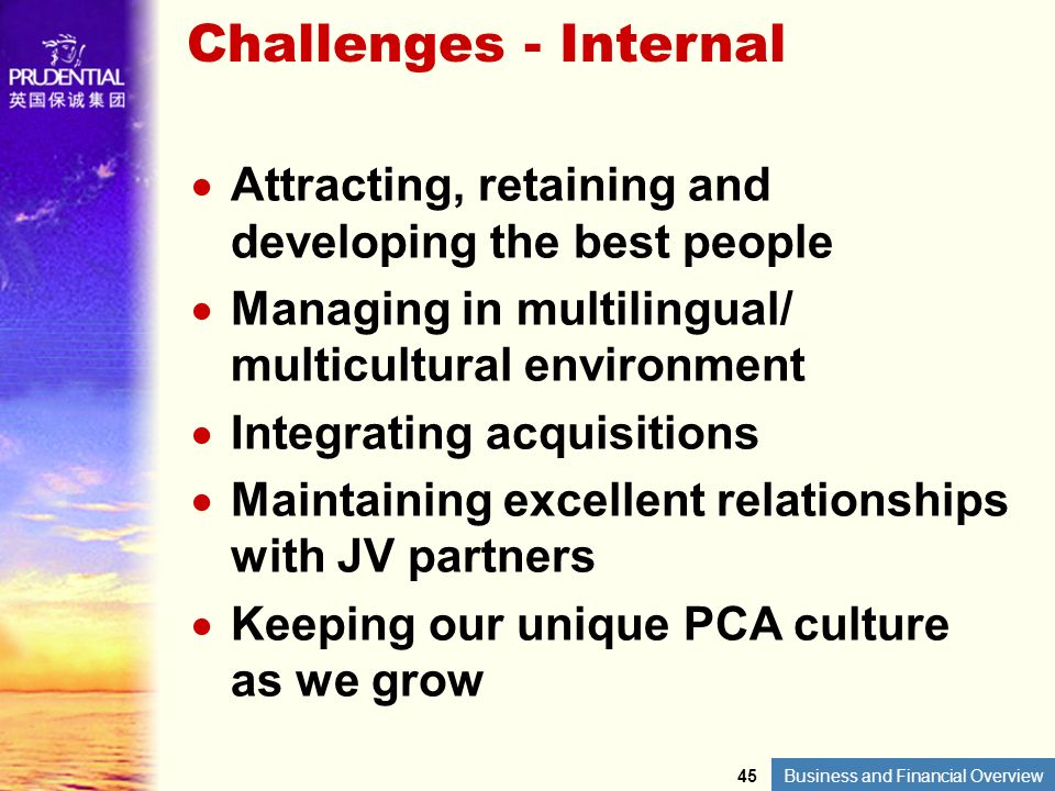 Challenges - Internal Attracting, retaining and developing the best people. Managing in multilingual/ multicultural environment.