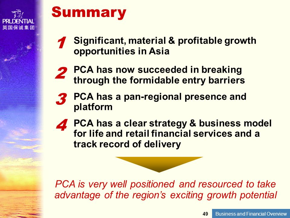 Summary 1. Significant, material & profitable growth opportunities in Asia. 2.