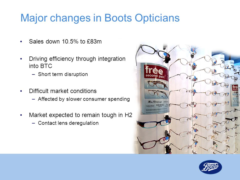 Major changes in Boots Opticians