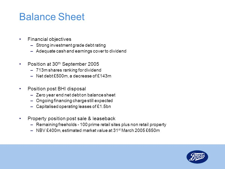 Balance Sheet Financial objectives Position at 30th September 2005