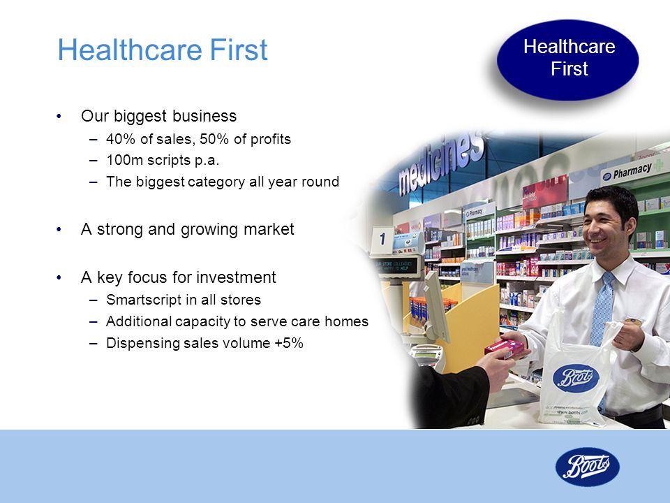 Healthcare First Healthcare First Our biggest business