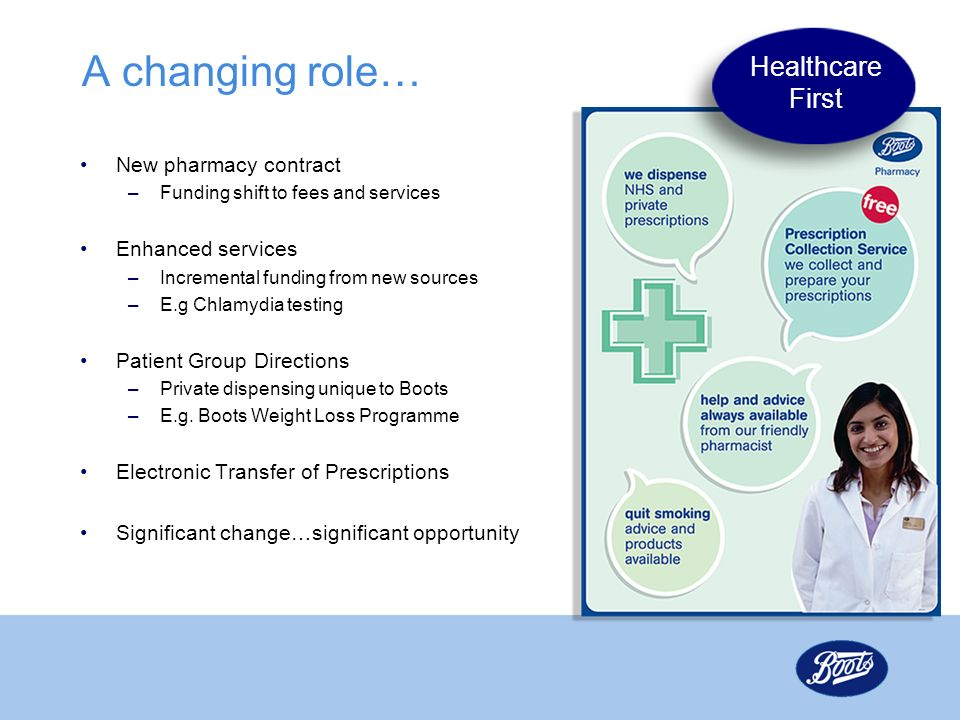 A changing role… Healthcare First New pharmacy contract