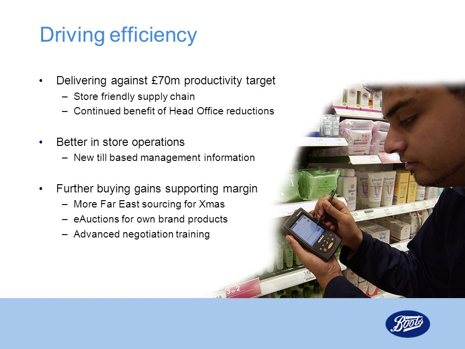 Driving efficiency Delivering against £70m productivity target