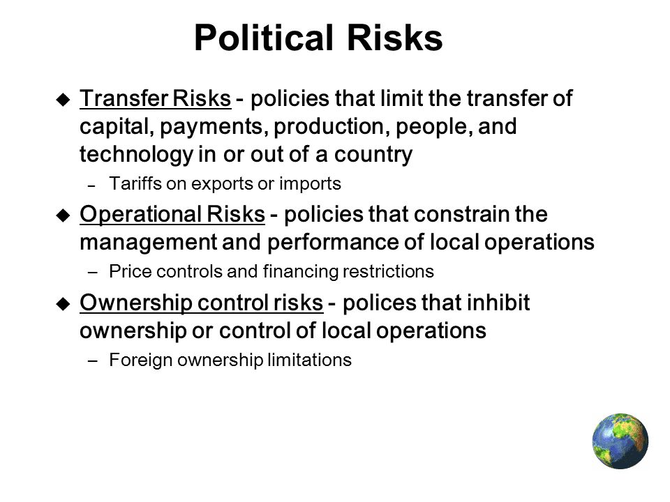 economic risk to an mnc how are the influence an mnc Factors that influence multinational  tect an mnc's specific advantages, intellectual properties,  as the most important determinant of both risk and return.