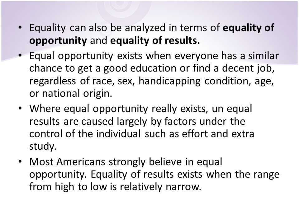 factors that affect equality of opportunity Understanding equality and diversity in the workplace  are in place to advocate and promote the true sense of equality and opportunity for all.