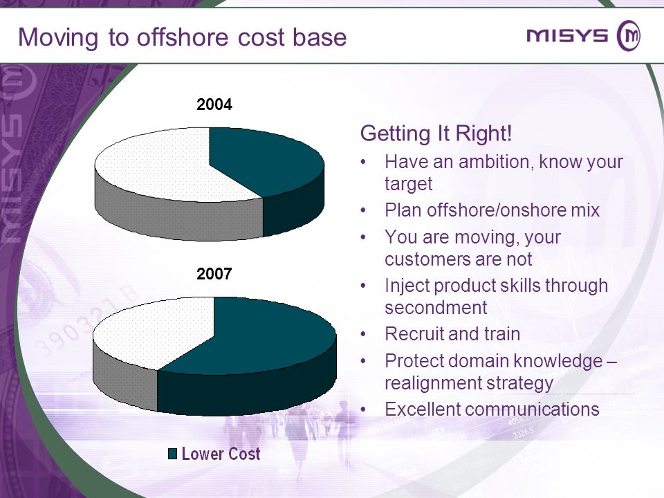 Moving to offshore cost base