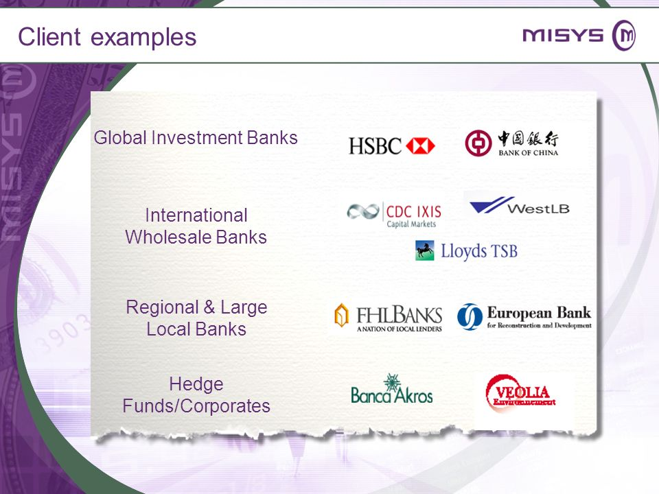Client examples Global Investment Banks International Wholesale Banks
