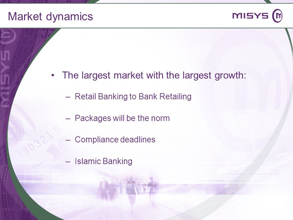 Market dynamics The largest market with the largest growth: