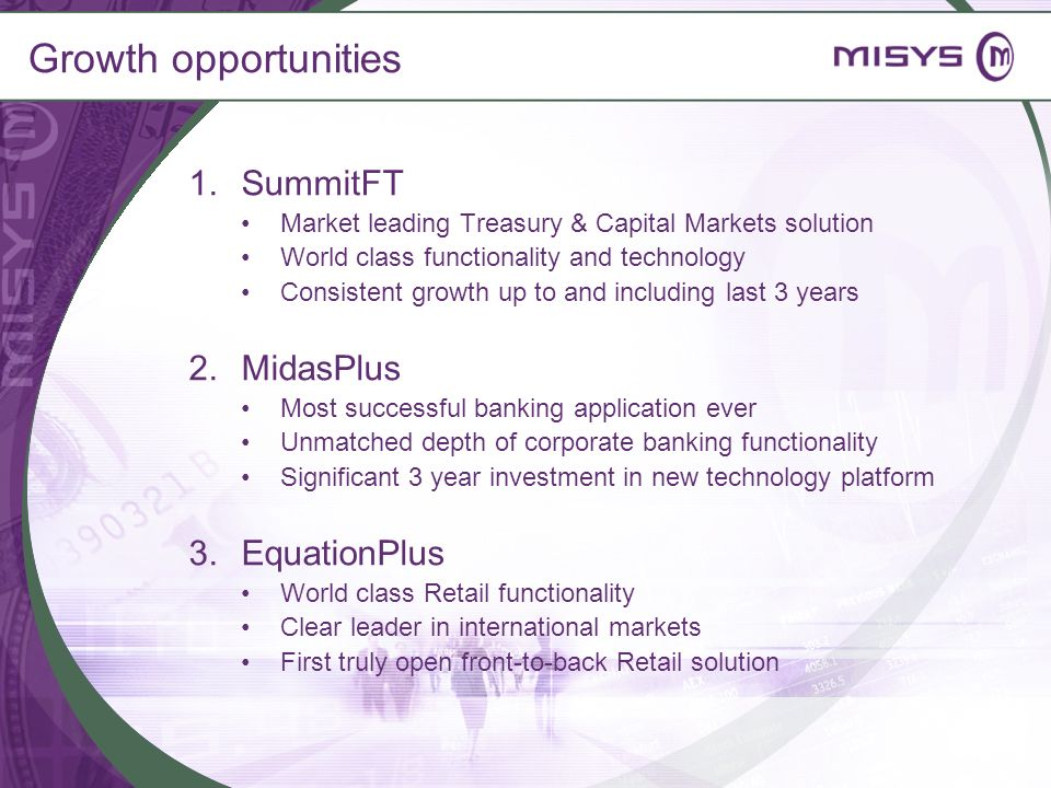 Growth opportunities SummitFT MidasPlus EquationPlus