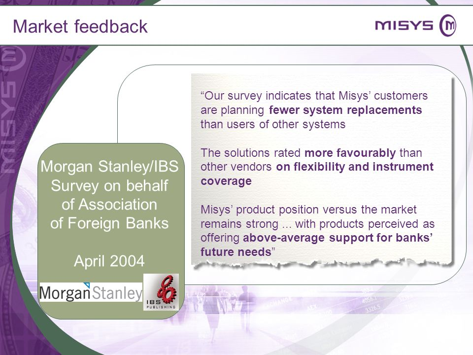 Market feedback Morgan Stanley/IBS Survey on behalf of Association