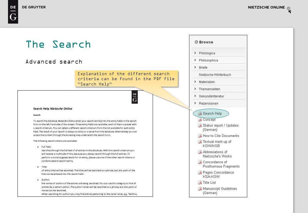 The Search Advanced search