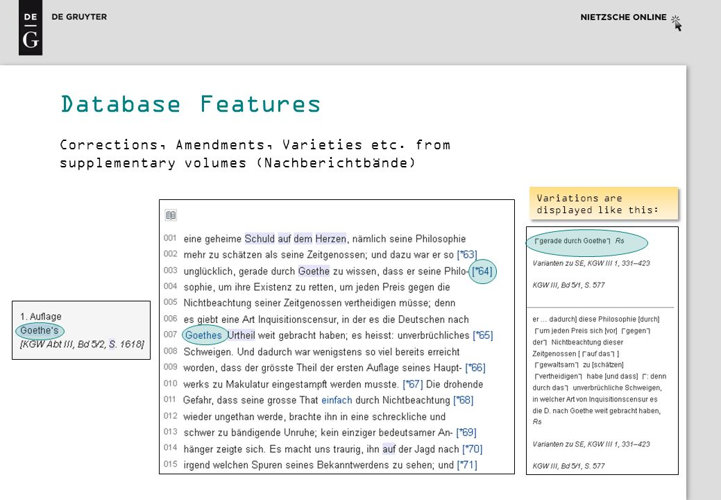 Database Features Corrections, Amendments, Varieties etc. from supplementary volumes (Nachberichtbände)