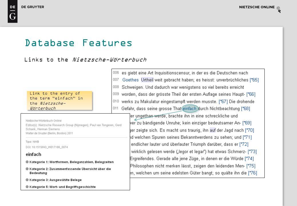 Database Features Links to the Nietzsche-Wörterbuch